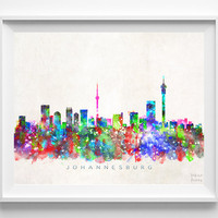 Johannesburg Skyline, South Africa Print, Johannesburg Poster, Cityscape, Watercolor Painting, City Poster, Home Decor, Christmas Gift