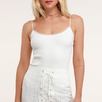 Adrienne White Eyelet Lace Lace-Up Mini Skirt