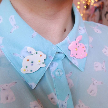 Bunny Cookie Polymer Clay Pin Set by tinytangerines on Etsy