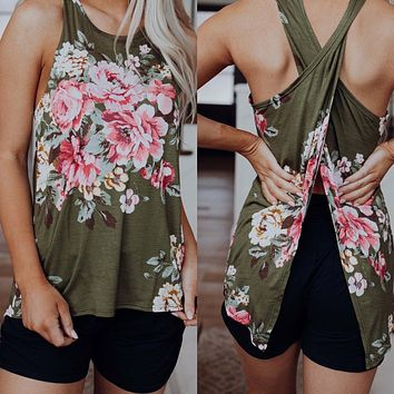 Olive Floral Criss Cross Tank
