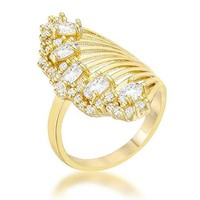 Natalie 2.15ct CZ 14k Gold Contemporary Cocktail Ring