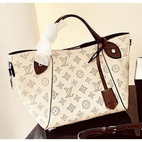 Louis Vuitton LV High Quality Women Shopping Leather Handbag Shoulder Bag Purse Wallet Two-Piece Set White