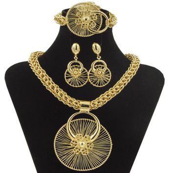 2018 New Dubai Fashion Wedding Jewelry Unique Ferris Wheel Modeling Big Necklace Bracelet Ring Earring Africa Gold Jewelry Sets