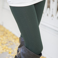 Forest Cable Knit Fleece Lined Leggings