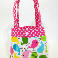 Toddler tote little girl purse birds tote chicks tote pink purse little girl birthday gift toddler gift tot tote water resistant lining