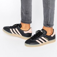 Pink | adidas Originals Black And Pink Gazelle Trainers With Gum Sole at ASOS