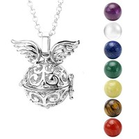 """SHIP BY USPS:  Hollow Flower Locket Pendant With Natural 7 Chakras 16mm Ball Stones Reiki Healing Energy Beads 28"""" Necklace Set w/Box"""