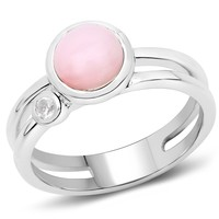 LoveHuang 1.28 Carats Genuine Pink Opal and White Topaz Ring Solid .925 Sterling Silver With Rhodium Plating