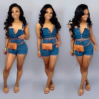 Denim Set Sleeveless Jeans Crop Top & Shorts