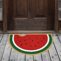 Natural Geo Island Bitten Watermelon Red/Green Natural Coir Door Mat 20 x 31""