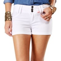 White 3 Button Front Shorts