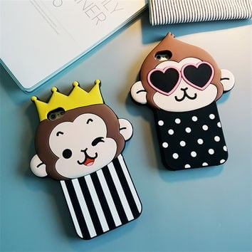 Cute 3D Cartoon Monkey Love Heart Eyes Soft Silicon Case Back Cover For iPhone 6 6S Plus 5S 5 SE Couple Phone Cases Fundas Capa