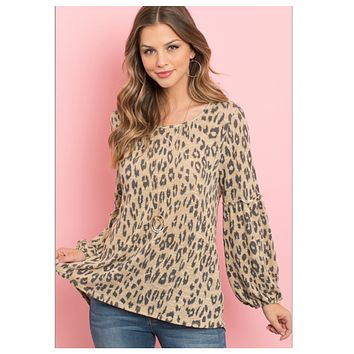 Adorable Puff Sleeve Leopard Top