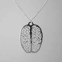 "A ""Little Extra Brain"" Necklace- psychology graduation gift - biology - Sterling silver chain"