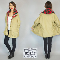 vintage 1980's WOOLRICH all-weather HOODED woodland preppy plaid lined PARKA raincoat, extra small-large