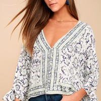 My Kind of Paradise White and Blue Print Tie-Sleeve Top