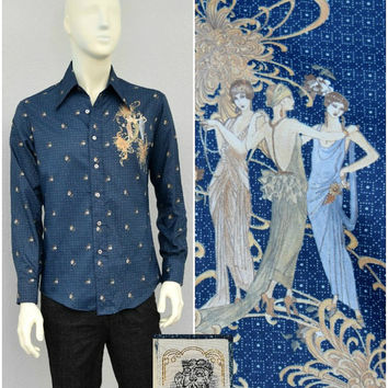 Vintage 70s Polyester Navy Floral Disco Shirt, 1930s Lady Novelty Print, Mens Retro Shirt, Butterfly Collar, Big Collar, Long Sleeve, Size M
