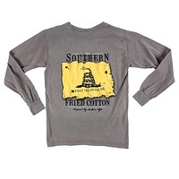 Youth Don't Tread On Me Long Sleeve Tee Shirt in Grey by Southern Fried Cotton