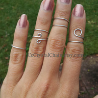 Wire wrapped Midi Rings -Set of 4 Above the knuckle jewelry
