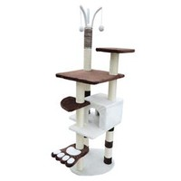 "PawHut 68"" Cat Tree with Paw - Brown/White"