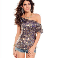 Sexy Sequin One Shoulder Short Sleeves T-shirt