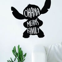 Ohana Means Family Stitch Silhouette Decal Sticker Wall Vinyl Decor Art Movie Kid Teen Lilo Disney Inspirational