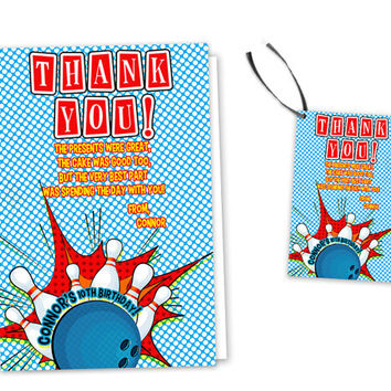 Bowling Party Thank You Card - Bowling Party Favor Tags - Retro Bowling Birthday Party Thank You Cards - Cards or Tags - Classic - Custom
