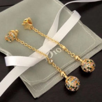 DIOR Fashion New More Colorful Diamond Long High Quality Women Earring Golden