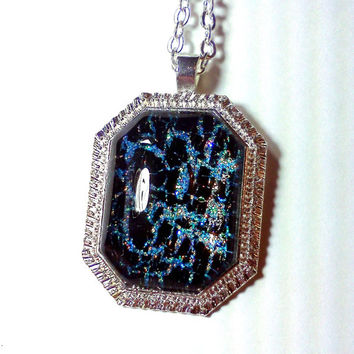 Mermaid Necklace, Mermaid Jewelry, Teal, Teal Necklace, Blue Green Necklace, Glitter Nail Polish, Nail Polish Jewelry, Crackle Polish