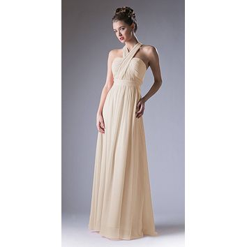 Convertible Long Evening Dress Champagne A Line Multiple Styles