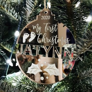 Baby's First Christmas Split Name Tree Ornament