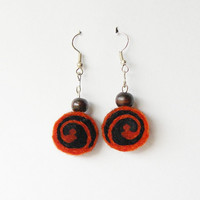 Earrings - unique felted rolls no 103, felt, merino wool earrings, very light, colorful earrings, unique pattern, wooden beads, autumn