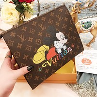 LV Louis Vuitton Women Shopping Bag Leather Mickey Mouse Print Crossbody Satchel Shoulder Bag
