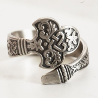 Spoon Ring Rare Antique Celtic Design in Sterling Silver, Gorham's No.14 of 1885, Handmade and Adjustable to Your Size (4623)