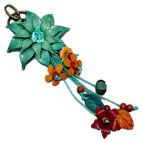 Teal Leather Flower Multi-Color Wood Bead Flower Key Chain, Purse Accessory, Bag Charm, gift  USA SELLER