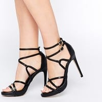 New Look Spaghetti Multiple Strap Heeled Sandals at asos.com