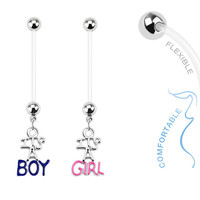 BOY or GIRL Extended & Flexible Pregnancy Navel Belly Button Rings Piercing Jewelry