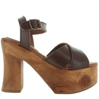 Musse & Cloud Edeline - Brown Crisscross High Chunky Platform/Heel Sandal