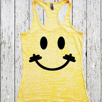 Because I'm Happy // Women's Workout Tank Top // Happy Face Tank top // Womens Workout Tank // Crossfit tank top //  Lift Tank Top