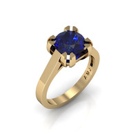 Modern 14K Yellow Gold Gorgeous Solitaire Bridal Ring with a 2.0 Carat Blue Sapphire Center Stone R66N-14KYGBS