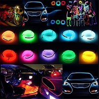 LED Strip Garland EL Wire 1M/3M/5M Car Interior Lighting Auto  Rope Tube Line flexible Neon Light With 12V USB /battery light
