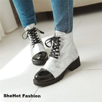 Women Casual Gold/Silver/White Block Heel Ankle Boots