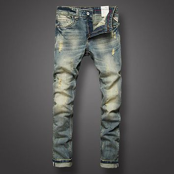 Slim Fit Denim Ripped Jeans