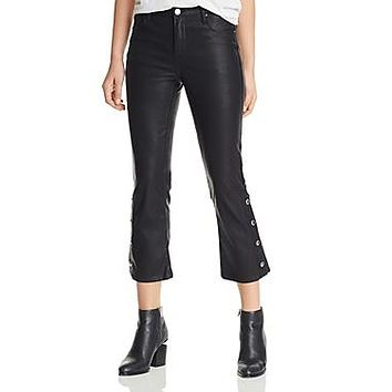 BlankNYC Womens Daddy Soda Faux Leather Flared Cropped Pants
