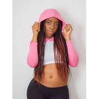 Long Sleeve White and Pink Raglan Cropped Hoodie / Crop Top / Made in USA