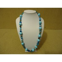 Designer Fashion Necklace 24in L Beaded/Strand Female Adult Blues/Silvers -- Used