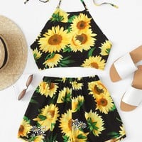 Sunflower Print Halter Top With Shorts