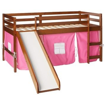 Donco Kids Low Loft Bed with Slide with Tent, Twin, Light Espresso/Pink