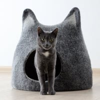 Cat bed - cat cave - cat house - handmade felted wool cat bed - black with natural white - made to order