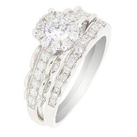 BL Jewelry Sterling Silver 2 Pieces Solitaire CZ Bridal Engagement Wedding Halo Ring Set 45 CT